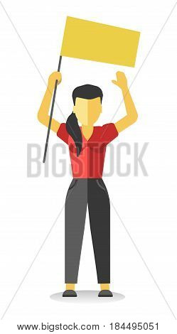 Striking woman holds empty yellow banner above head. Vector illustration of female protesting against something at demonstration in flat style design. Worker demonstrator with billboard, revolution