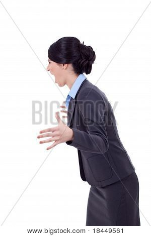 Angry Business Woman Screaming To A Side