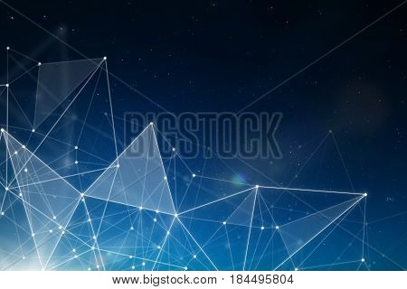 Abstract connected dots wireless communication network on space background abstract image visual internet of things .