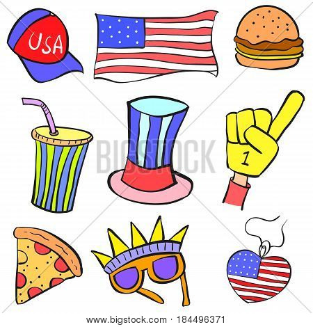Collection stock of memorial day element doodles vector art