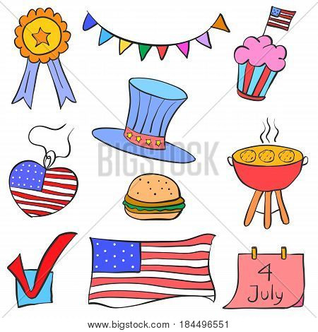 Collection stock of element memorial day doodles vector