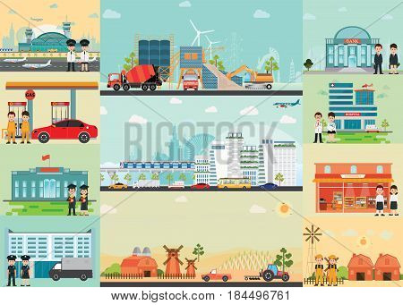 City life info graphics with industrial area environment in megalopolis and village vector illustration.
