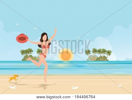 Happy bikini woman jumping of joy and success on beach on tropical vacation. Holiday girl with sexy slim running of freedom and happiness vector illustration.