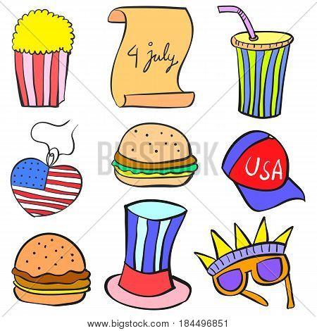 Collection stock memorial day object doodles vector art