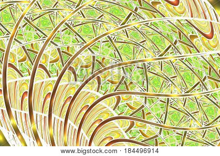 Abstract Intricate Yellow, Brown And Green Swirly Background. Psychedelic Fractal Texture. Digital A