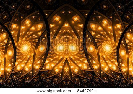 Abstract Intricate Orange Mosaic Ornament. Fantasy Fractal Background. Digital Art. 3D Rendering.