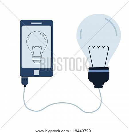 Light bulb connected to a cell phone through a usb cable. Outline of the lamp bulb being shown on the mobile monitor. Flat design. Isolated.