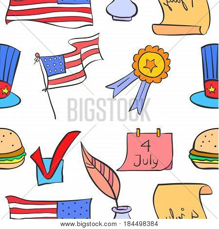 Illustration vector memorial day doodles collection stock