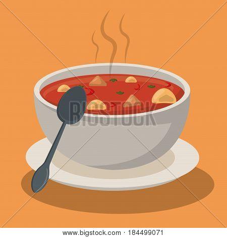 hot soup pasta vegetables bowl dish spoon vector illustration