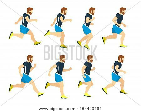Running man young athlete in tracksuit. Animation frames. Vector sport illustrations isolate on white. Athlete run character, runner cartoon male training