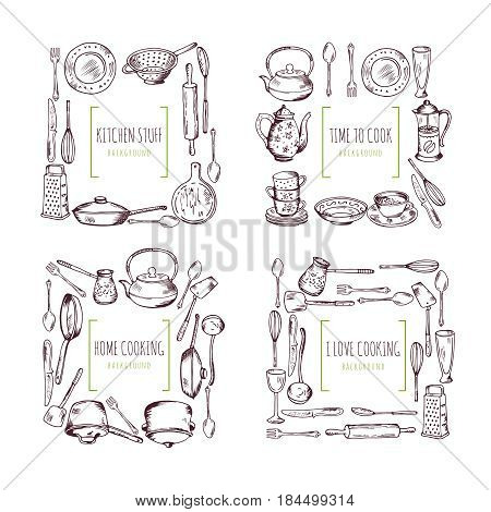 Kitchen elements frames and place for your text. Food vector background. Template of frame restaurant menu with tools for kitchen, illustration of cooking kitchen kitchenware