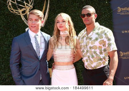 LOS ANGELES - APR 30:  Lucas Adams, Carrie Keegan, Kyler Pettis at the 44th Daytime Emmy Awards - Arrivals at the Pasadena Civic Auditorium on April 30, 2017 in Pasadena, CA