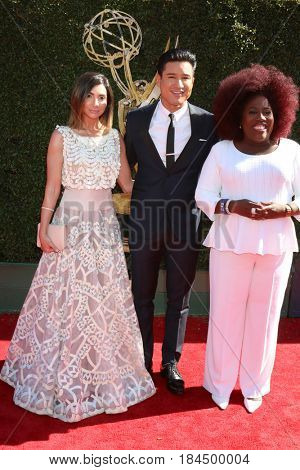 LOS ANGELES - APR 30:  Courtney Laine Mazza, Mario Lopez, Sheryl Underwood at the 44th Daytime Emmy Awards - Arrivals at the Pasadena Civic Auditorium on April 30, 2017 in Pasadena, CA