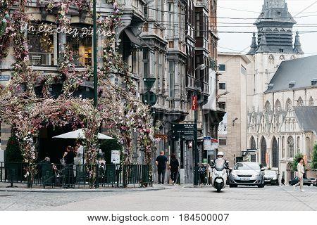 Brussels Belgium - July 30 2016: Cityscape of Brussels. Place du Grand Sablon