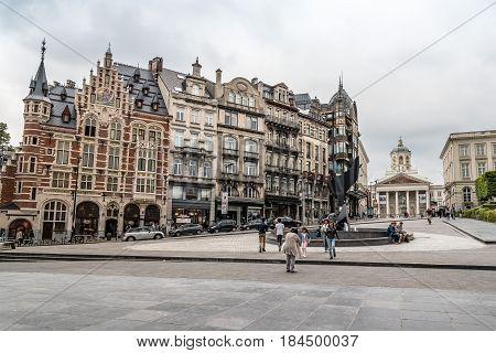 Brussels Belgium - July 30 2016: Musical Instrument Museum in Brussels a cloudy day of summer. It is part of the Royal Museums for Art and History
