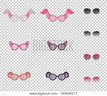 Beautiful glasses with ears of animals, set. Transparent lenses, and additional lenses with variable transparency.