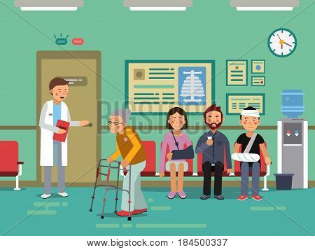 Patients and disabled peoples waiting doctor in clinical room. Vector medical. Clinic hall with patient, illustration of medical patients in line