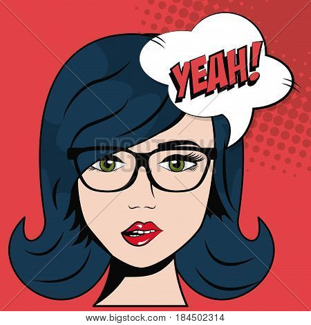 girl glasses and blue hair bubble speech pop art vector illustration