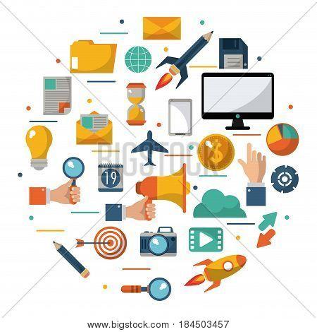 digital marketing advertising optimize global business vector illustration