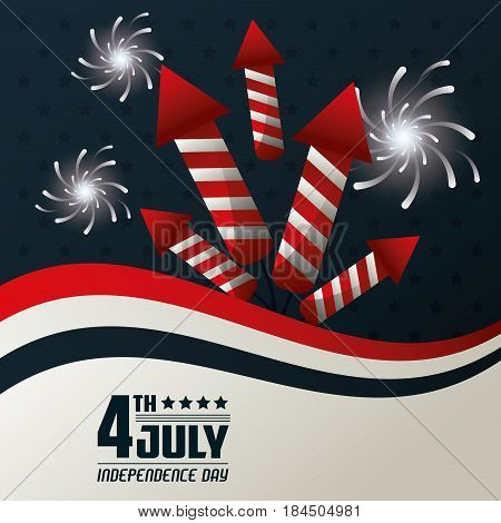 4th july independence day fireworks festive celebration national design vector illustration