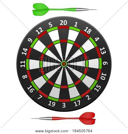 Realistic Detailed Dart Board Target witch Arrow, Sport Game Isolated on a White Background . Vector illustration