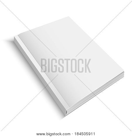 Realistic Template Blank White Closed Detailed Journal or Magazine Empty Ready for Your Design. Vector illustration