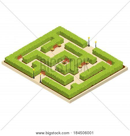 Green Labyrinth Garden Isometric View Nature Maze Geometric for Concept Park Square. Vector illustration