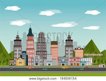 urban street bulindin market gas station police school landscape vector illustration