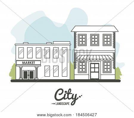 city landscape market store building stree tree line vector illustration