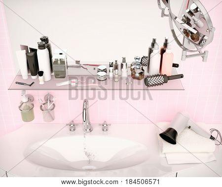 Close-up of porcelain washbasin in pink bathroom. Set for morning hygiene. Toothpaste brushes soap gel balm skin care hair care. 3D illustration