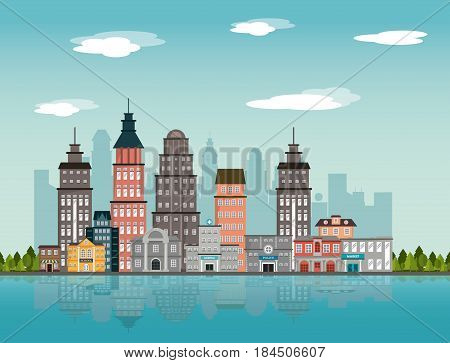 city landscape building downtown river tree design vector illustration