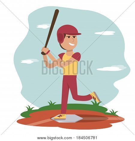 physical education - sport boy play baseball vector illustration