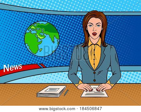 Newsreader reads news on TV pop art retro vector illustration. Comic book style imitation.