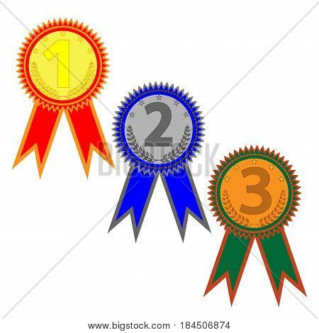 Medal set sign. Symbol of prize. Color round medallions with two ribbons isolated on white background. Achievement flat mark. Concept of award. Stock vector illustration