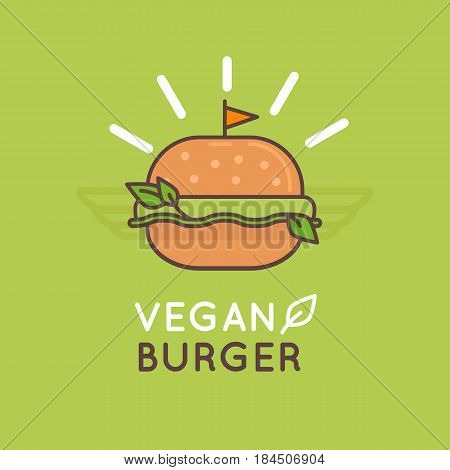 Vector Illustration In Flat And Linear Style - Vegan Burger