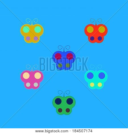 Butterfly sign set. Colorful insect simple symbol. Multicolor icons isolated on blue background. Flat mark. Spring or summer love concept. Modern art scoreboard. Stock vector illustration