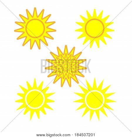 Sun sign set. Yellow plane icon isolated on white background. Color sunlight logo. Sunshine symbol. Light flat silhouette. Weather mark. Stock vector illustration