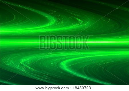 Green Circular Glow Wave. Lighting Effect Abstract Background.