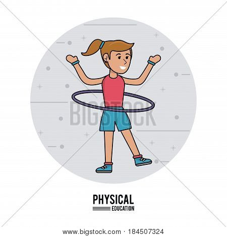 physical education - girl practice hula hoops vector illustration