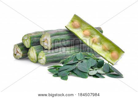 pod of moringa (drumstick tree) with leaves isolated on white background