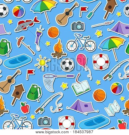 Seamless pattern on the theme of summer camp and vacations icons stickers on blue background