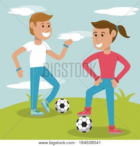 couple kids practicing soccer sport vector illustration