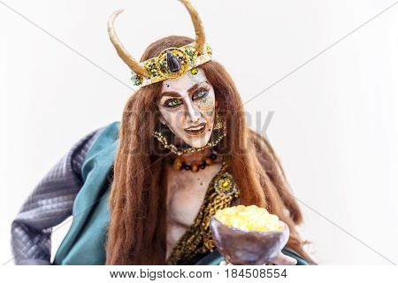 Ancient dolls of Scandinavian gods and monsters Thor Heimdall witches griffin dragon
