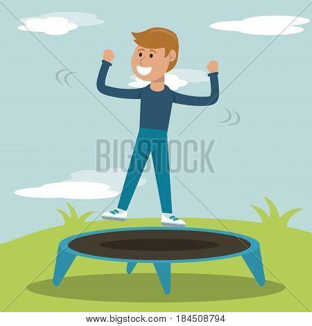 physical education - smiling boy jump trampoline sport vector illustration