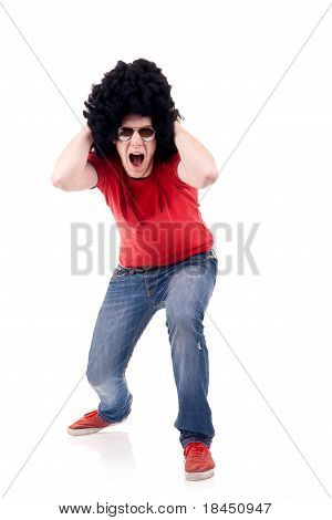 Casual Man With Sunglasses Screaming