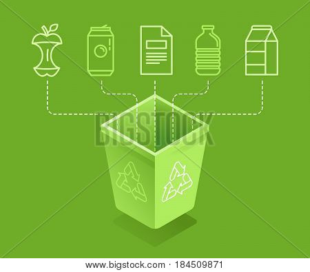 Vector illustration in modern flat linear isometric style - recycle trash bin - sorting and recycling different types of garbage - organic glass paper plastic metal - infographic design elements and icons