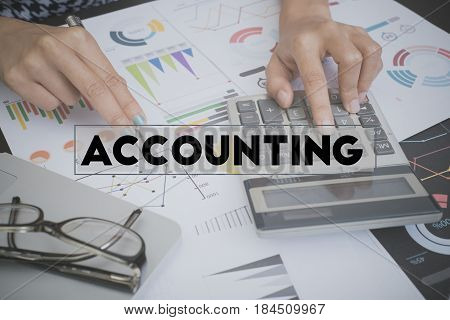 business accounting with document graph financial and calculator on office table. concept planning budget and audit.