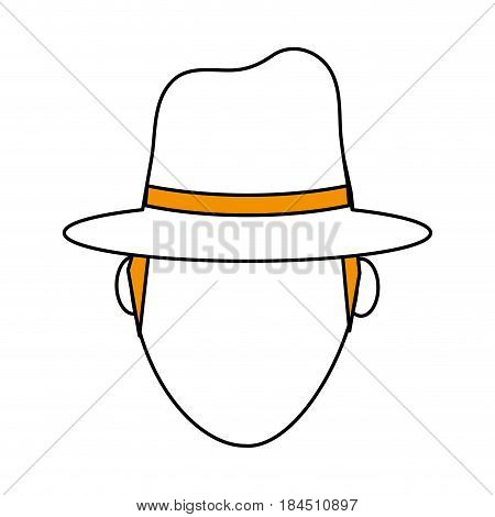 color silhouette image front view faceless explorer man with hat vector illustration