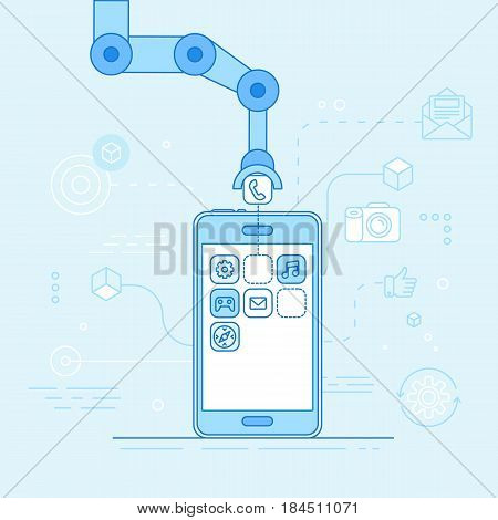 App Development Concept - Robotic Hand Putting Application In Mobile Phone