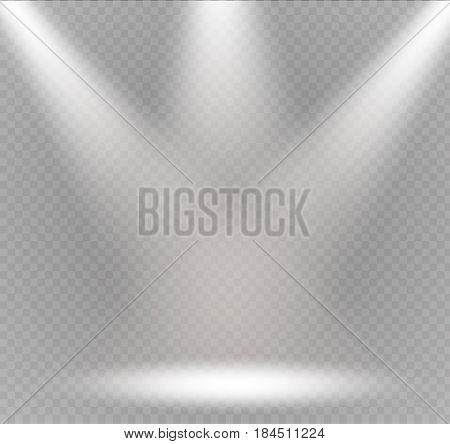 Vector spotlight. Light effect.Scene illumination, transparent effects on a plaid dark background. Bright lighting with spotlights.